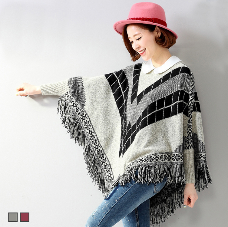 C87776A New Fashion Women Sweater shawl fringed cape coat wholesale knitted poncho