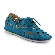 Alibaba latest design women casual flat shoes candy color hollow shoes comfort ladies cut shoes wholesale price