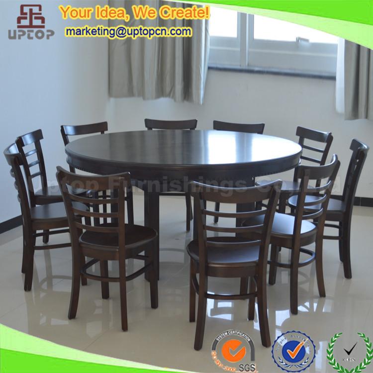 Sp cs323 10 seater round dark walnut color dining table for 10 seater solid oak dining table