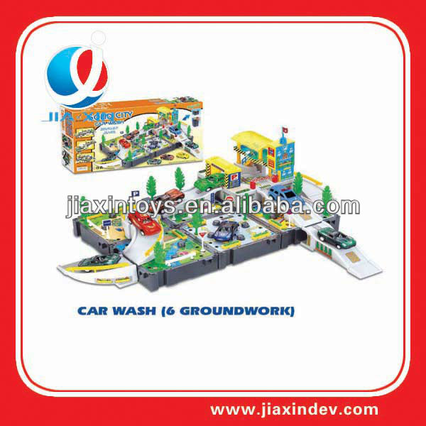 self-chambering transformation car wash station kid for toy