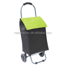 RW6201C China Shopping Bag Factory Supply Folding Trolley Shopping Bag With 2 Wheels In Black Body With Green Flap