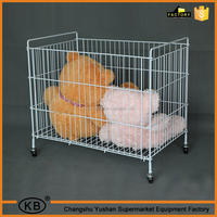 Wholesale clothes storage folding wire cage with wheels