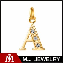 Luxury Crystal Letter Pendants Women Stainless Steel Alphabet Charm for Necklace