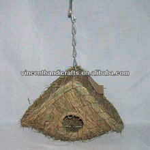 Rustic vintage grass weaving bird house garden hanging bird nest