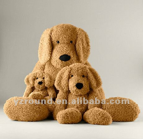 Small and big plush toys dog long ears animal family