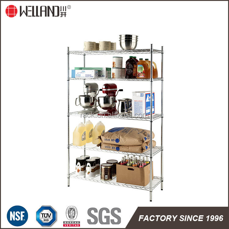 Portable 5 tiers restaurant kitchen nsf storage shelf metal dispaly rack for customer use