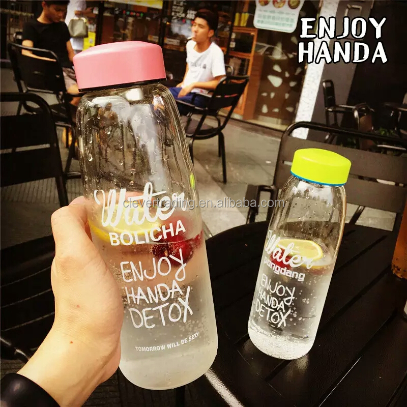 Big volume Cylindrical wide mouth glass beverage bottles printing letters