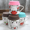 Haonai customzied decal 330ml ceramic mug take away lid coffee mug tea milk mug