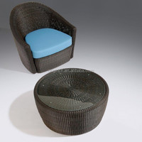 Home garden furniture with ratan covered and tub design wicker lounge bar