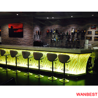 Luxury Solid Surface Led Lighted Coffee Juice Shop Nightclub Bar Reception Counter Design