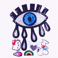 Design pants cartoon eye sequin embroidery patch