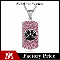 Stainless Steel Pets Footprint Pendant with full crystal dog tag charm necklace