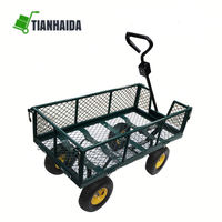 Hot sale Farm Wagon Folding Mesh Sides Trailer Steel Garden Cart