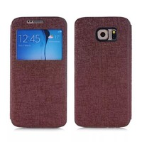 2016 New Product View Window Flip Leather Case For Samsung Galaxy s6