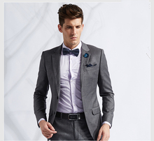Wholesale OEM service v neck pane business office long sleeve cool fit wedding dress for men gray coat pant men suit