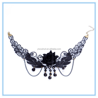 Europe and the big black gem Rose Lace exaggerated lady Pendant Lace Necklace