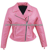 Pink Leather Motorcycle Jackets, Leather Racing Jackets