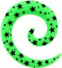 HGC bright color uv printed spiral with black star body piercing