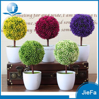 Artificial Potted Plant Plastic Table Small Plant Pots Artificial Grass Ball Tree / Bonsai Tree for home/garden/christmas