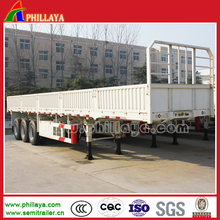 Best selling 40ft 3 axles bogie suspension side wall trailer/strong flatbed cargo truck trailer dimensions