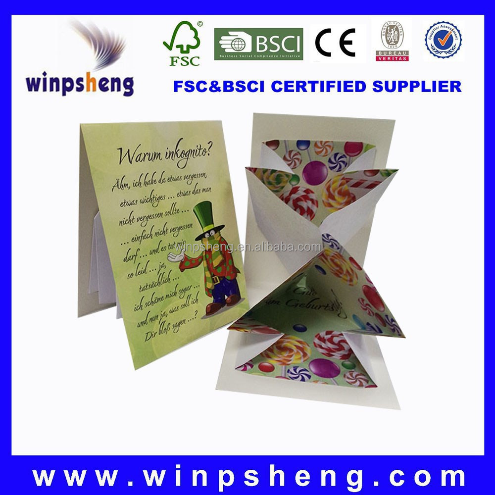 2015 Flower Design 3D Pop Up Greeting Card with Colorful Candies