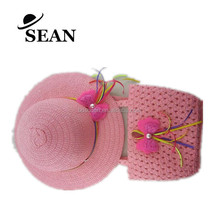 Promotinal Little Girls Straw Hat and bag Set with Bowknot