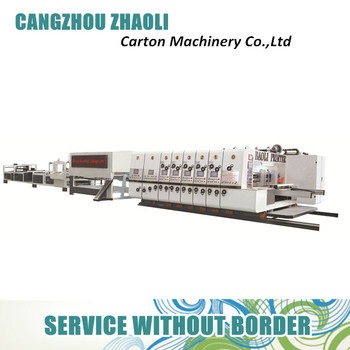 Colour corrugated carton box flexo die cutting and printing machine with gluer