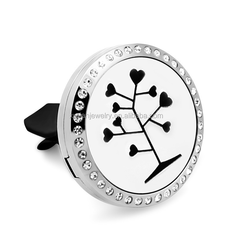 316L stainless steel magnet round car diffuser locket with crystal stone jewelry