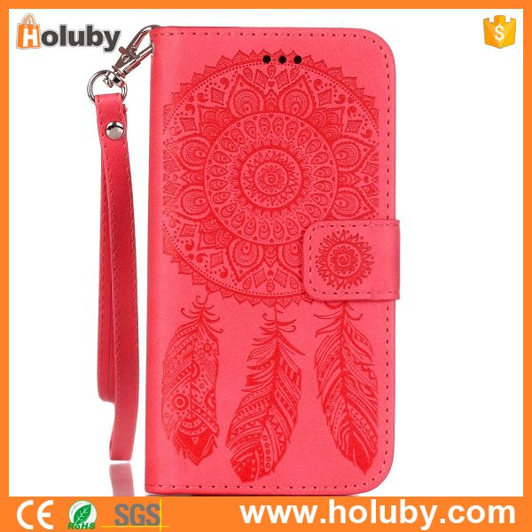 Windbell Embossed Pattern With Wrist Strap for iPhone 6 Wallet Case