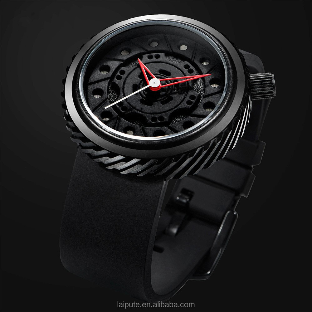 2017 black rubber quartz techno sport tyre watch stainless steel back men watch relojes hombre 1ATM
