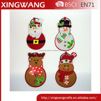 Promotion item christmas door hanger santa snowman reindeer gingerbread man design set of 4
