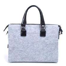wholesale Grey portable felt laptop bag single-shoulder bag with black leather
