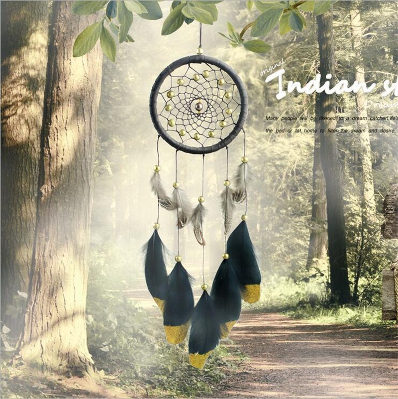 Promotional Christmas gift ornament Home Room Interior Decoration accessories Handmade Traditional Black leather dream catcher