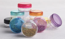 3g purple small round empty plastic cosmetic jars container ,sample plastic bottle for cosmetic packaging