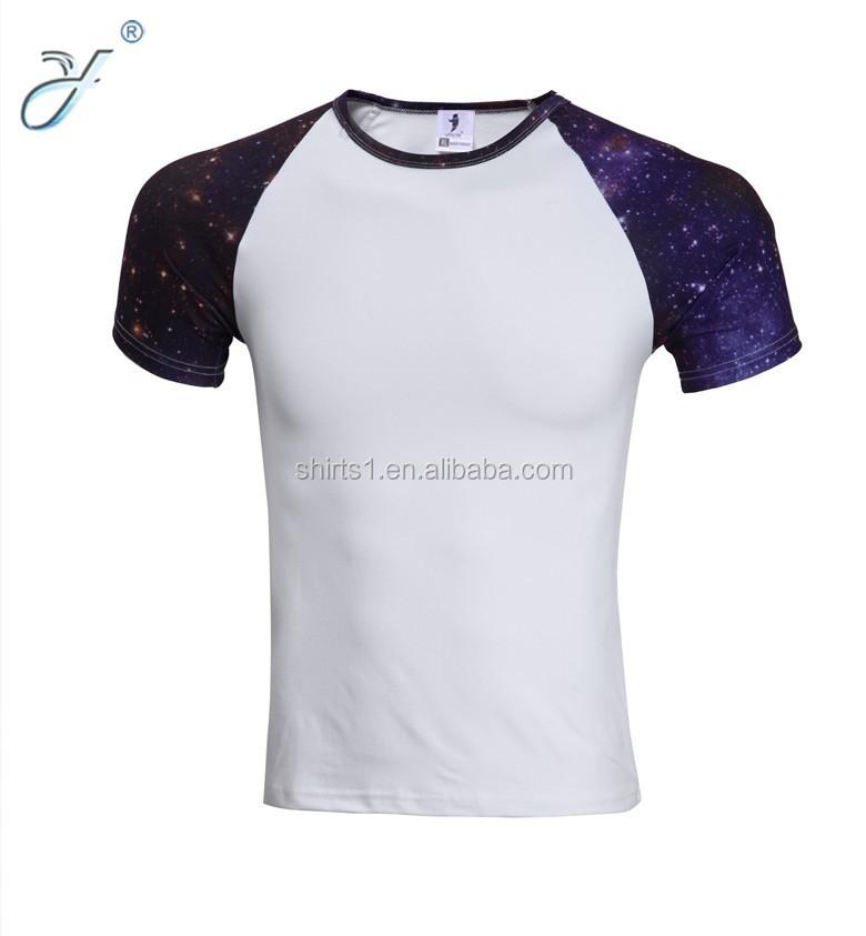 Wholesale men 39 s o neck galaxy pattern compression t shirts for Galaxy white t shirts wholesale