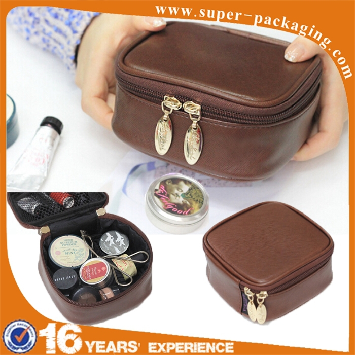 2016 New product cute plain pu leather small travel cosmetic bag for girl