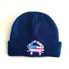 custom winter Embroidery knitted blue beanie hat