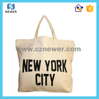 Custom durable natural reusable white plait cotton tote bag with logo print