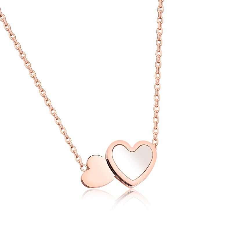 1189N Custom Ladies Fashion Short Paragraph Rose Gold Clavicle Double Heart Stainless Steel Necklace with White Shell