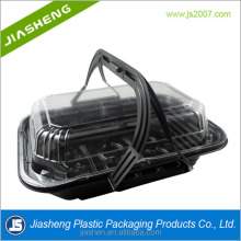 Disposable Salad Bento PET plastic basket /box /container with handle for food