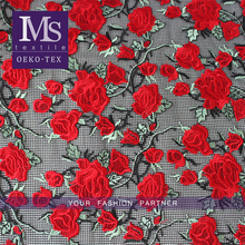New arrival simple ladies red rose embroidery mesh lace fabric for dress