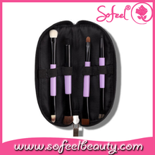 4pcs mini portable purple travel cosmetic brush set