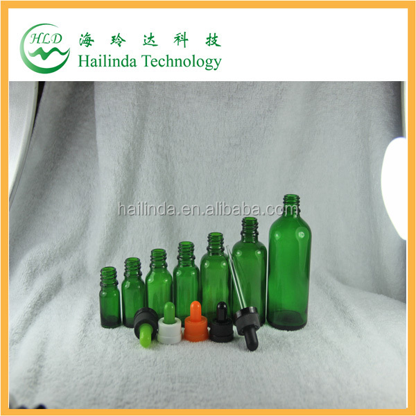 top quality pet green glass bottle for ecig oil