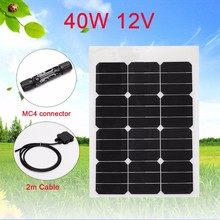 40W 12V Monocrystalline Sunpower Solar Panel Kit Bendable with MC4 Connector