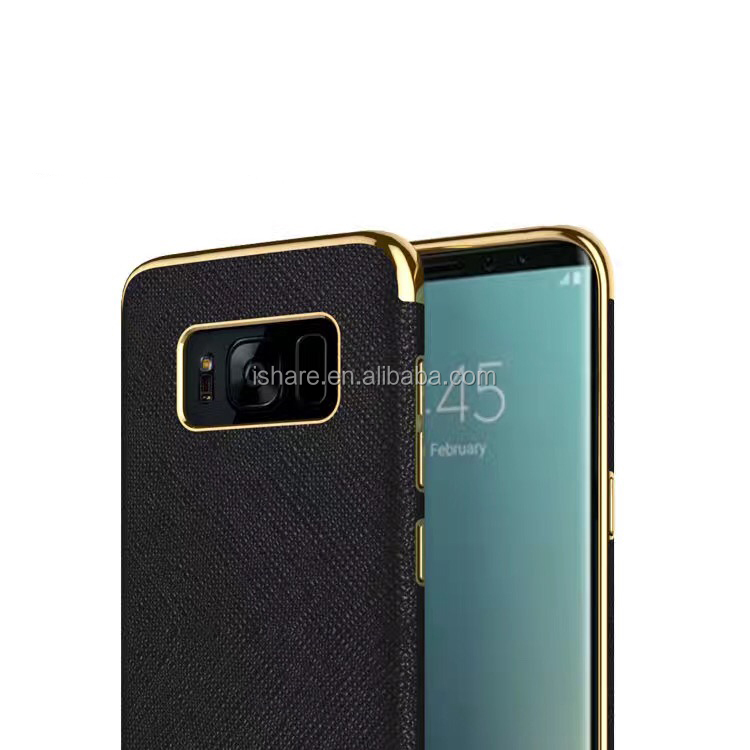 Luxury Electroplating TPU Sticker PU Leather Case Built-in steel thin disk For Samsung Galaxy S8 Magnetic Holder Case