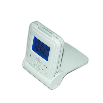 White Travel Alarm Mini Digital Clock With Calendar Temperature Desktop
