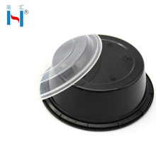 High quatily Disposable Round pp Black Food Grade Plastic Container,Microwavable and dishwasher Food Container