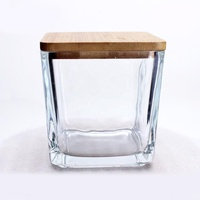 Best selling square wooden bamboo lids for glass candle jars wholesale