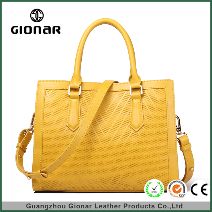 Gionar Brand High Quality Fashion Ladies Plain Yellow Square Shape Tote Bag PU Leather Handbag