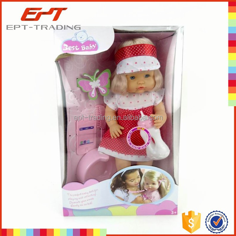 16 inch functional girl pee doll toy with 12 sounds ic and accessories